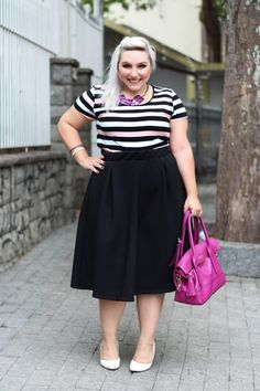 como usar camiseta listrada em look plus size - Plus Size Skirts - Ideas of Plus Size Skirts Plus Size Outfits For Summer, Outfits Plus Size, Plus Size Skirts, Plus Size Fall Fashion, Curvy Fashion, Girl Fashion, Autumn Fashion, Plus Fashion, Plus Size Looks