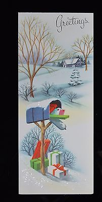 VTG-UNUSED-Christmas-Card-GLITTER-RURAL-MAILBOX-with-GIFTS-GLITTERED-Mid-Century