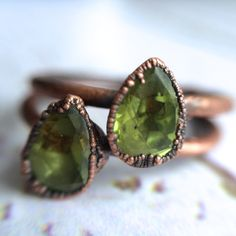 Green Peridot ring | Faceted peridot stacking ring | Copper & peridot stack ring | Electroformed jewelry | Organic Faceted stone jewelry   A tiny