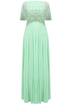 Mint green pearls and sequins embellished cape anarkali available only at Pernia's Pop Up Shop.