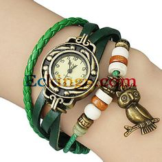 Women's Vintage Owl Pendant Leather Band Quartz Analog Bracelet Watch (Assorted Colors) : Online Shopping for Watches, Toys & more