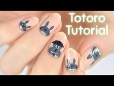 This month's addition to my Character Cuticles series is Totoro, your friendly neighbourhood forest spirit! 🌳☔️ I was going to add Totoro to the se. Cartoon Nail Designs, Nail Art Designs Videos, Nail Art Diy, Diy Nails, Anime Nails, New Nail Art Design, Short Nails Art, Nail Tutorials, Nail Arts