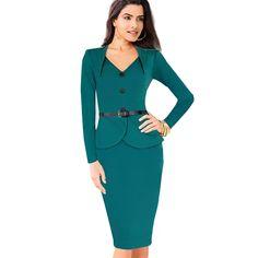 Plus size long sleeve winter dress  autumn elegant knee length women formal office dress slim v neck bandage bodycon dress b15-in Dresses from Women's Clothing & Accessories on Aliexpress.com | Alibaba Group