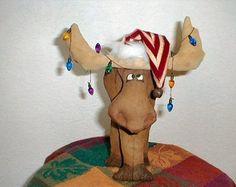 Primitive E- Pattern Folk Art Christmas Mooseltoe Moose pdf Instant Download