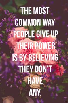 The most common way people give up their power, is by believing they don't have any~ adapted from a quote by author Alice Walker