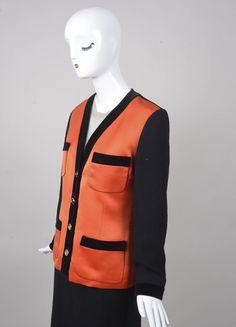 VINTAGE CHANEL Black and Orange Satin Panel and Knit Skirt Suit – Luxury Garage Sale