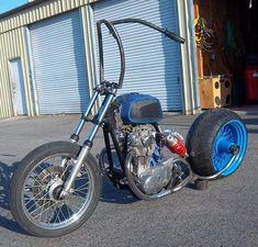 xs650 bobber custom suspension with 280 rear tire and aermacchi harley Davidson rapido gas tank and custom ape hangers I call the predators