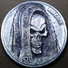 NARIMANTAS PALSIS HOBO NICKEL - 1920 BUFFALO NICKEL Hobo Nickel, Friends With Benefits, Challenge Coins, Skulls, Buffalo, Cactus, Death, Carving, Art