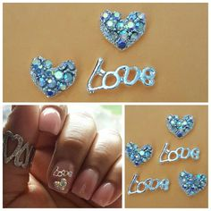 "** Product of the Day ** LOVE Hearts  Add some ""love"" to your mani with these silver rhinestone studs. ❤ Shop Now: MyPrettyPieces.com  http://myprettypieces.com/product/love-hearts"