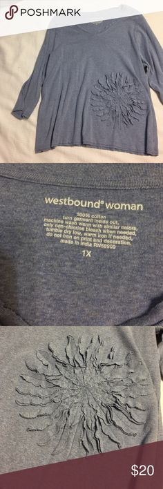 Westbound Woman Ladies Top Westbound Woman long sleeve top with raised flower accent. Never worn. Smoke free home. Westbound Woman Tops Tees - Long Sleeve