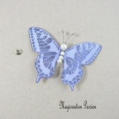 Papillon soie bouton pression violet 7.5 cm Violet, Mauve, Insects, Creations, Support, Dimensions, Passion, Animals, Playing Card