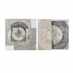 Cuadros Modernos Abstractos Plata, díptico lienzo pintura al óleo. Cuadros y Pinturas en Nuryba.com tu tienda decoracion de interiores online