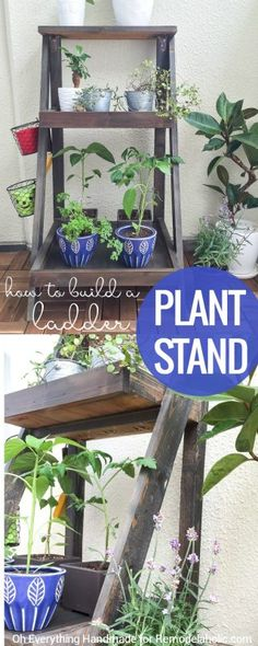 Follow this easy tutorial to build your own tiered ladder plant stand for the patio or porch. Perfect for flowers, an herb garden, or a small container garden.
