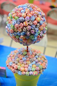 Lollipop topiary at a Willy Wonka birthday party!   See more party ideas at CatchMyParty.com!