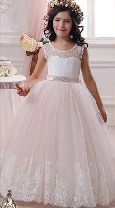Blanco de encaje balón vestido de la cucharada viste para bodas Girls pageant vestidos de primera comunión vestidos vestidos comunion ninas