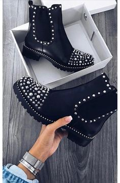 Sasha Studded Ankle Boots iKrush hella G R U N G E feels in our 'SASHA' studded boots! Featuring studded detail at the front, slip on style and flat style. Studded Ankle Boots, High Heel Boots, Leather Boots, Heeled Boots, Shoe Boots, Women's Boots, High Heels, Yellow Boots, Black Boots