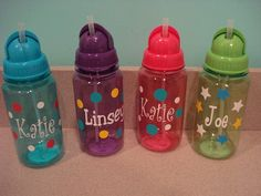 Kids water bottles with straws personalized for free by fun4petey, $6.00