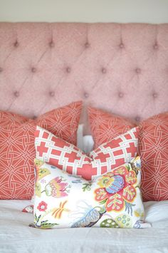 Bed fabric is Schumacher- Greek Key  Euro pillows are Schumacher-Durance Embroidery  Standard size pillow is Kravet-Thom Filicia Citysquare