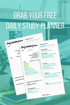 Improve your studying productivity with this study printable. Click to download this study planner you can use each day to improve your university or college grades