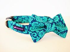 Dog Collar and Bow Tie Set.  This Fauna set has a beautiful teal and blue floral print that will sure to make any pup look dapper!