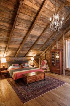 48 Amazing Rustic Chandelier Decor Ideas For Your Living Room - All About Decoration Bedroom Loft, Cozy Bedroom, Bedroom Decor, Attic Loft, Bedroom Ideas, Cabin Bedrooms, Bedroom Lighting, Trendy Bedroom, Bedroom Storage