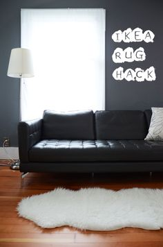DIY Ikea rug.... make an oval! The boo would love a white fuzzy rug, i already know it