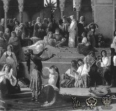 Las danzas palaciegas, especialmente durante los períodos de apogeo político y esplendor cultural del califato cordobés, eran junto con los conciertos musicales, el número fuerte de las veladas (...) Una práctica extendida por todas las ciudades y palacios del mundo islámico, desde Bagdad y Medina a Córdoba o Sevilla. Estas veladas estaban protagonizadas por bailarinas traídas de Oriente. (...)