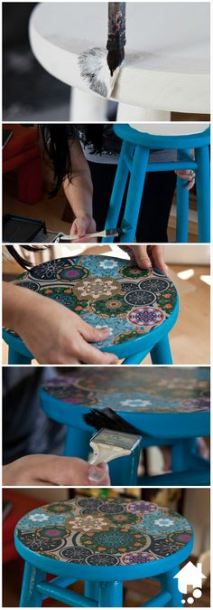 Com gravuras originais e uma nova pintura, é possível dar personalidade ao mobiliário da sua casa utilizando a técnica de découpage.   #DIY #Decoracao #Decoupage #Moveis