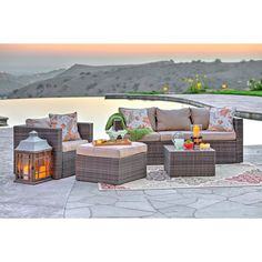 Transform your outdoor space into an oasis of tranquility and comfort with this four-piece patio set. Constructed from high quality wicker with reinforced aluminum frames, its deep seating cushions assure that you and your guests will enjoy yourselves.