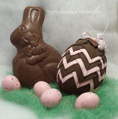 Quilted Ornament Easter Egg Chocolate Brown Pink Bunny.