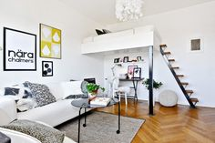 small space with mezzanine loft