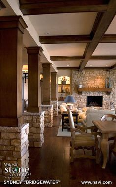Rustic Finished Basement Ideas For Inspiring Interior Design: Wood And Stone Columns With Wall Sconces Also Coffered Ceilings And Stone Fireplace Surround With Sofa For Rustic Finished Basement Ideas Interior Columns, Stone Interior, Interior Design, Wood Columns, Wood Beams, Stone Fireplace Surround, Stone Fireplaces, Stone Accent Walls, Stone Pillars
