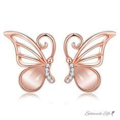 1 Paar Ohr Stecker Schmetterling Zirkonien mit Roségold vergol