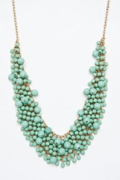 Beaded Bib Necklace in Mint