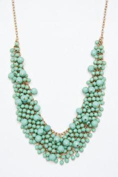 Beaded Bib Necklace in Mint