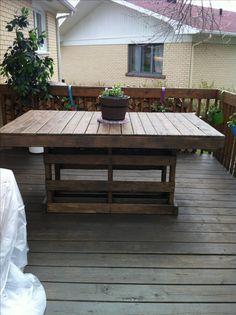 A simple table for my pation made from recycled wooden pallet. Une table de patio fait à partir d'une palette de bois recyclée. Idea sent by Nadja Jomphe !