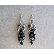 """""""Sliver Painted Clusters"""": Black, silver circles, clustered with crystal beads.   Silver earwires, 3.5"""" length   $42"""