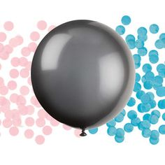 Learn the gender of your bundle of joy with a pop! This kit includes a jumbo 24 round black balloon and both blue and pink tissue confetti! Includes: 24 Round Black Giant Gender Reveal Latex Balloon with Blue and Pink Confetti Fun Baby Shower Games, Baby Shower Party Supplies, Baby Shower Parties, Baby Mickey Mouse, Happy Birthday, Mickey Birthday, Gender Reveal Party Supplies, Reveal Parties, Black Balloons