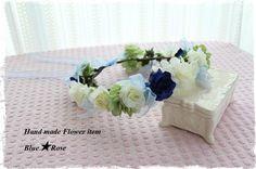 ホワイト×ロイヤルブルー リボンの花冠