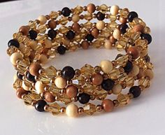 Crystal Wrap bracelet/ Beaded Golden Crystal by DesignsByAlesia