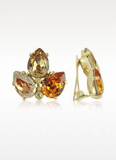 68 00 Amber Tones Arranged In An Elegant Gold Tone Leaf Setting Create A