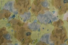 Cotton Fabric by the Yard Green Brown Fabric Yardage Artists www.thefabricscore.etsy.com #sewing #crafts #diy #quilting