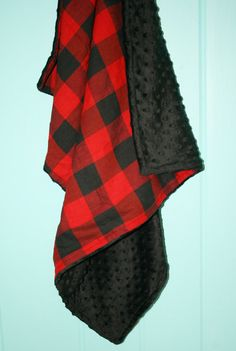 Buffalo Plaid Baby Blanket Minky Backing Baby by AhoyBoutique
