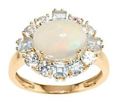 Smithsonian Ethiopian Opal & 1.55 ct tw White Zircon Ring, 14K fabulous