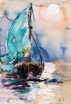 Sailboat Art Print by Kovacs Anna Brigitta. All prints are professionally printed, packaged, and shipped within 3 - 4 business days. Choose from multiple sizes and hundreds of frame and mat options. Watercolor Sea, Watercolor Landscape, Watercolor Paintings, Watercolor Artists, Watercolours, Sailboat Art, Sailboat Painting, Sailboats, Art Graphique