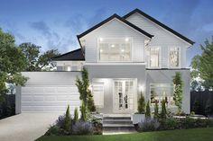 Waldorf 44 – Hamptons-style Facade New England facade on our Waldorf 44 design Grey Exterior, House Paint Exterior, Dream House Exterior, Exterior House Colors, Rendered Houses, Hamptons Style Homes, Hamptons Beach Houses, Hamptons Decor, Weatherboard House