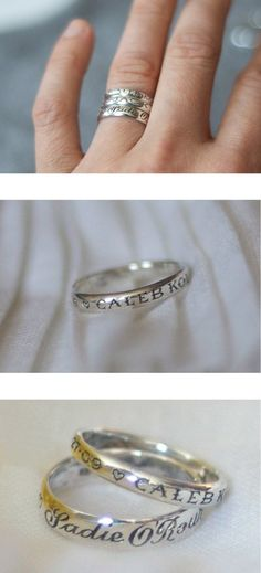 Childs name and date of birth on a ring. I so want this :) I can always carry my two girls....bam no need for tattoos