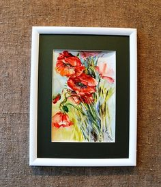 Art Watercolor original  poppies by Linuzi on Etsy