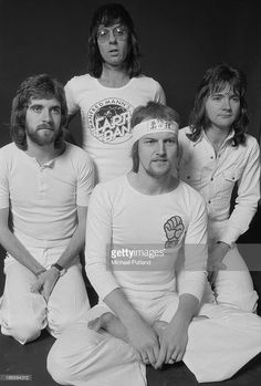 British progressive rock group Manfred Mann's Earth Band, December 1973. Left to right: guitarist Mick Rogers, singer and keyboard player Manfred Mann, drummer Chris Slade and bassist Colin Pattenden.