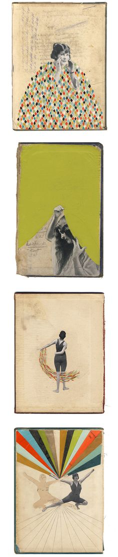 Hollie chastain. Use old figures from postcards/cutouts and collage with prints from different cultures